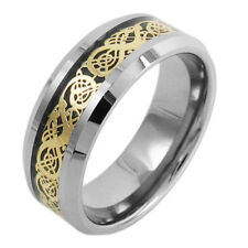 8mm Celtic Dragon Tungsten Ring Mens Jewelry Wedding Band (Choose Color) GOT TW