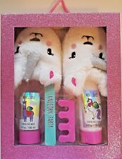 Girls Unicorn Slippers Foot Spa Set ~ Slippers, Wash, Lotion,  2 Toe Separators