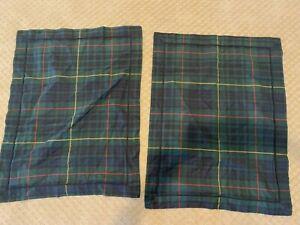 2 Ralph Lauren Pillow Cases Shams Plaid Millbrook Tartan Green Navy Red Standard