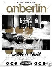 """Anberlin """"Final World Tour"""" 2014 Portland Concert Tour Poster - Alternative Rock"""