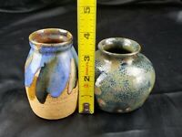 Mid-Century Modern Art Studio Pottery Vases lot of two both signed two separate