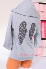 VICTORIA'S SECRET VS Angel Wings Sequins Bling Logo Zip-Up Hoodie Jacket S Gray
