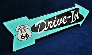 RT 66 Drive-in arrow - *US MADE* Embossed Metal Sign - Man Cave Garage Bar Decor
