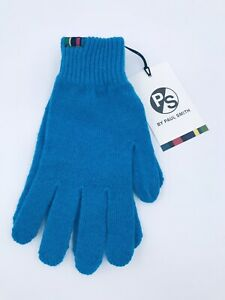 Paul Smith Men Gloves Neon 100% Lamb Wood Made In Scotland Blue
