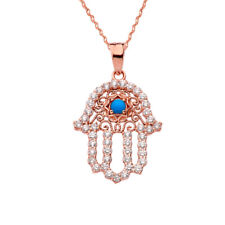 14k Rose Gold Chic Turquoise Hamsa Pendant Necklace