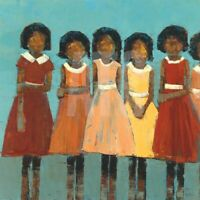 "24W""x24H"" THE DANCE by REBECCA KINKEAD - 5 GIRLS IN DRESSES - CHOICES OF CANVAS"