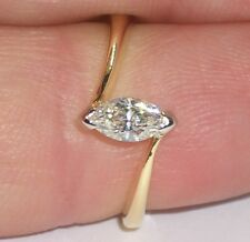 Yellow Gold, White Gold Setting. 0.34ct Marquise Diamond Solitaire Ring, 18ct