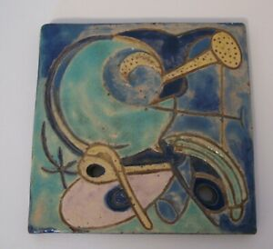 AMAZING VINTAGE 1947 MID CENTURY ABSTRACT POTTERY ART TILE signed PLEVEL 47