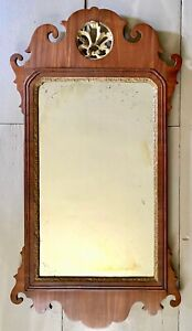 """18th c 32"""" CHIPPENDALE MIRROR w PIERCED & GILT CARVED SHELL CREST - Good Surface"""