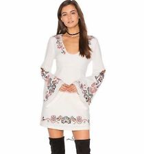 NWT FREE PEOPLE Sz10 FOLK EMBROIDERED BELL SLEEVES MINI DRESS IVORY COMBO $168