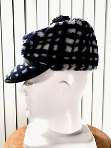 Men's 7 Medium VTG Classic Hunting Hat Cap Deer Duck Winter Faux Fur Plaid Navy