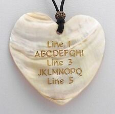 Custom Engraved Shell HEART Pendant Necklace WHITE