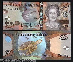 CAYMAN ISLANDS 25 DOLLARS P-41 2010 QUEEN FISH TURTLE UNC CARIBBEAN BANK NOTE