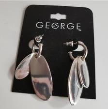 George Silver Tone Hoop Dangle Earrings