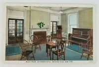 Postcard Interior Music Room Piano Jefferson Hotel Watkins Glen New York