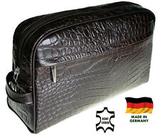 Richard Jäger XL Toiletry Bags Bag for Men Leather Crocodile Embossing Germany