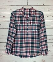 Madewell Women's S Small Blue Pink Plaid Button Long Sleeve Spring Top Blouse
