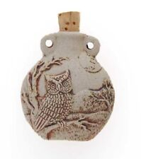 High Fired Owl Ceramic Pottery Bottle-Necklace