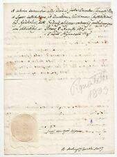 1803 lettera firma Autografa CARDINALE PIGNATELLI+SIGILLO a SECCO ARALDICO-h346
