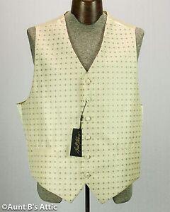 Vest Men's Ivory & Gold Patterned Full Back Formal Victorian Steampunk Vest