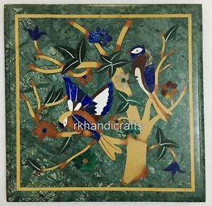 Green Marble Coffee Table Top Bird Pattern Inlaid Sofa Side Home Decor