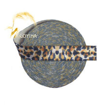 "5 Yard 5/8"" Brown Leopard Print Fold Over Elastic Satin Band Hair Tie Dress Trim"