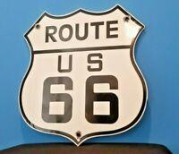 VINTAGE ROUTE 66 PORCELAIN GAS MOTHER ROAD SHIELD TRAVEL SERVICE SIGN