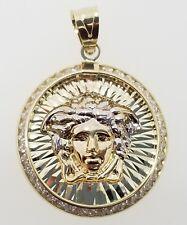 10k White Yellow Gold Two Tone Medusa Head Face Charm Pendant  medallion with CZ