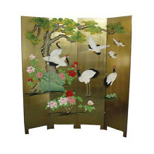GOLD LACQUER ORIENTAL FURNITURE - GOLD LEAF 4 PANEL SCREEN WITH CRANE DESIGN