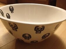 "SKULLS SKULL 10"" x 5.5"" SALAD CREAM BLACK Ceramic SERVING BOWL DISH HALLOWEEN"