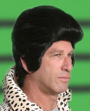 1950S 50'S ADULT MENS ELVIS WIG BLACK ROCKER POP STAR GREASE COSTUME MALE WIG