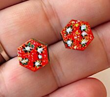 Red Sky Southern Cross Star Night Explosion Fireworks Hand Painted Stud Earrings