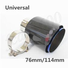 Universal Kohlefaser Auto Auspuff Endrohr Blau Stahl Auspuffblende 76mm/114mm 1x
