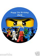 "NINJAGO PERSONALISED BIRTHDAY CAKE TOPPER EDIBLE WAFER PAPER 7.5"" img  ninja Jay"