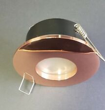 ROSE GOLD SPOTLIGHT IP65 WATER RATED ROUND DOWNLIGHT LED GU10 FROSTED GLASS