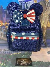 *NEW Disney Parks Loungefly Mini Backpack Americana Star & Stripes Sequins USA