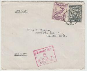 C.A.P.O No.5 (Torbay), Newfoundland 1944 censored RCAF airmail cover to Canada