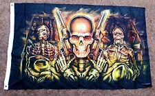 Skeleton With Six Guns Coffins 3'x5' Flag Wall Hanging Bar, Man Cave