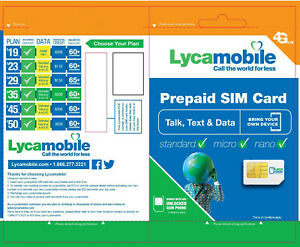 LYCAMOBILE LYCA MOBILE PLUS PREPAID SIM CARD ACTIVATION KIT LYCASIM LYCA SIM