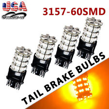 4x Amber/Yellow 3157 3156 60SMD LED Turn Signal Stop Parking Light Bulbs 4157