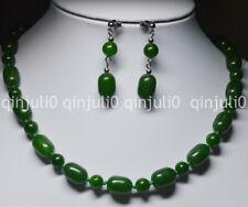 """Dark Green Natural 10x14MM Emerald GEMS BEADS NECKLACE 18"""" EARRINGS SET JN594"""