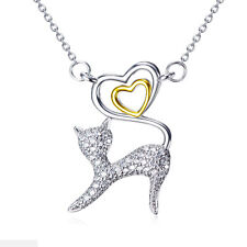 colgante de gato con corazón bañado en oro Cristales Blancos Plata Esterlina 925