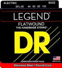 DR SFL-45 LEGEND SHORT SCALE FLAT WOUND BASS STRINGS, MEDIUM GAUGE 4's -  45-105