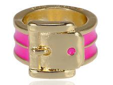 Golden Metal Tone Ladyk Enameled Belt Design Buckle Pattern Fashion Ring Hot