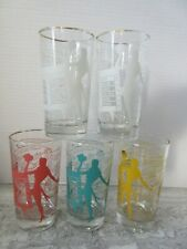 Set 5 Mid Century Drinking Glasses Tumblers Mixed Drink Jokes Woman Silhouette