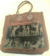 "Preston Leather Products Suede Handled Tote Egyptian Agricultural Motif 18"" X 16"