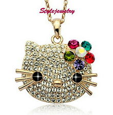 Rose Gold Filled Flower Hello Kitty Necklace Made With Swarovski Crystal N132
