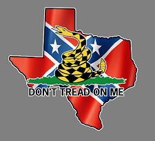 Dont Tread on Me, Texas, Confederate Decal, Rebel 5.5 x 5.25 Truck Car window