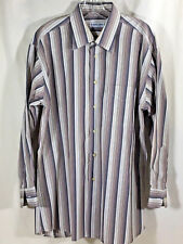 Bullock & jones dress shirt mens size large long sleeve beige brown stripes
