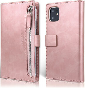 For iPhone 12/Pro/Max/Mini Zipper PU Leather Pocket Wallet Case Card Flip Cover